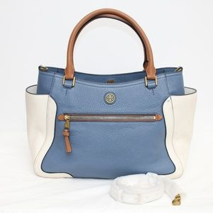 Tory Burch Blue & White Large Leather Bag Purse